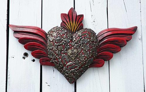 Corazón Milagrito Madera 33x19cm.