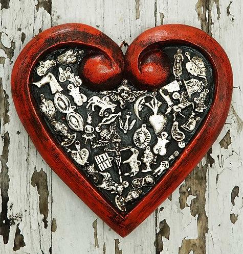 Corazón Milagrito Madera  18x18cm.