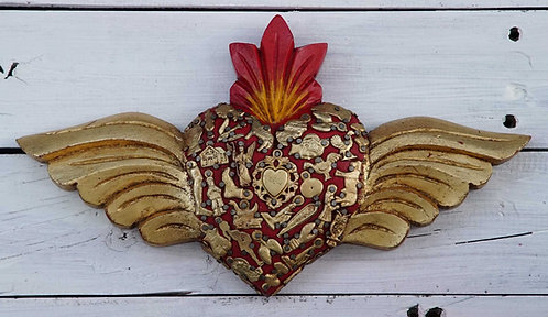 Corazón Milagrito Madera 30x16cm.