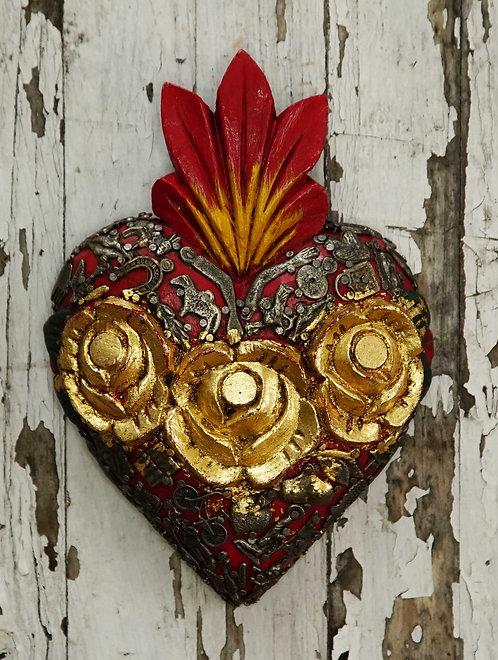Corazón Milagrito Madera  20x14cm.
