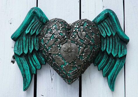Corazón Milagrito Madera 22x16cm.