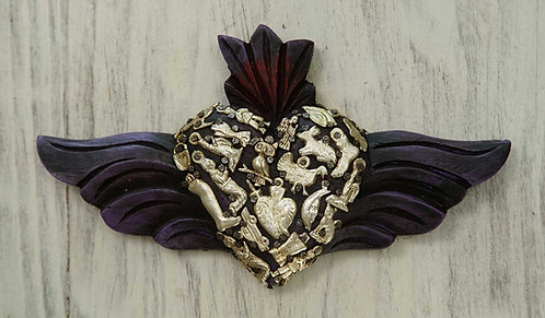 Corazón Milagrito Madera 22x13cm.