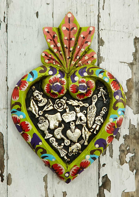 Corazón Milagrito Madera  17x11cm.