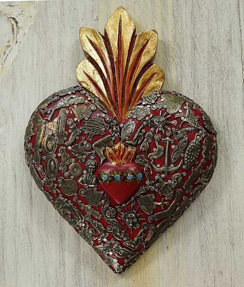 Corazón Milagrito Madera  23x16cm.