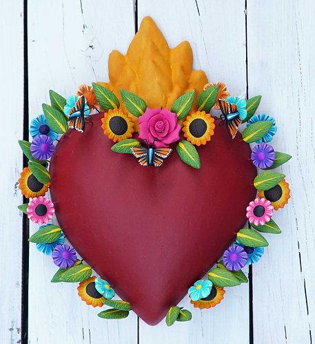Corazón Barro 26x20cm.