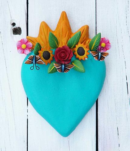 Corazón Barro 15x10cm.