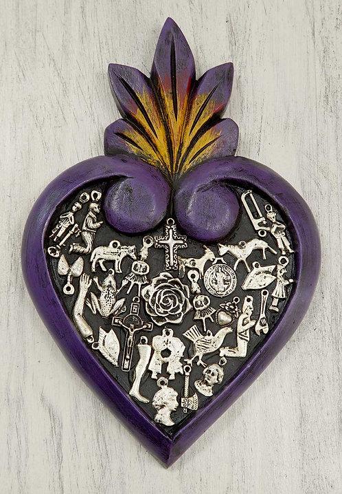 Corazón Milagrito Madera  23x15cm.