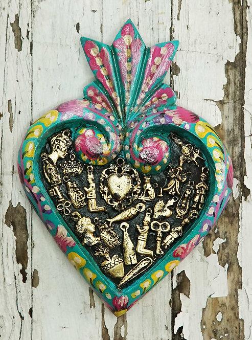 Corazón Milagrito Madera  19x14cm.
