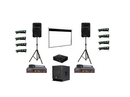 2 speekers, projector + screen, 2 microphone, 8 uplighting, subwoofer