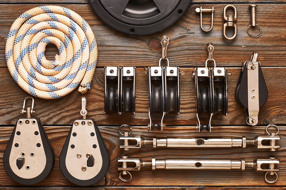 Yacht rope, rigging shackles and reels