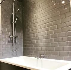Shower/bath refurb #metro #brick #tiles