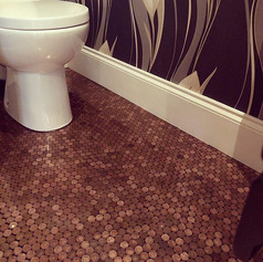 1 penny floor downstairs bathroom -  #1p