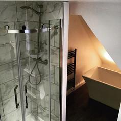 Bathroom refurb- Marble tiled shower com