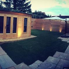 Luxury spa log cabin, Astro turfed garde