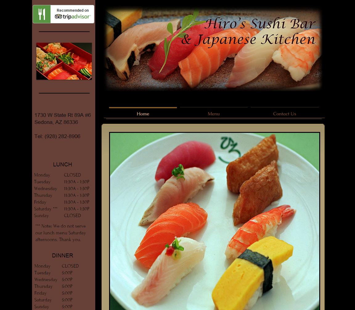 Hiro's Sushi Sedona webpage