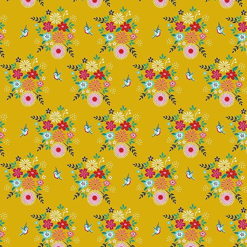 Katoen geel vogeltjes