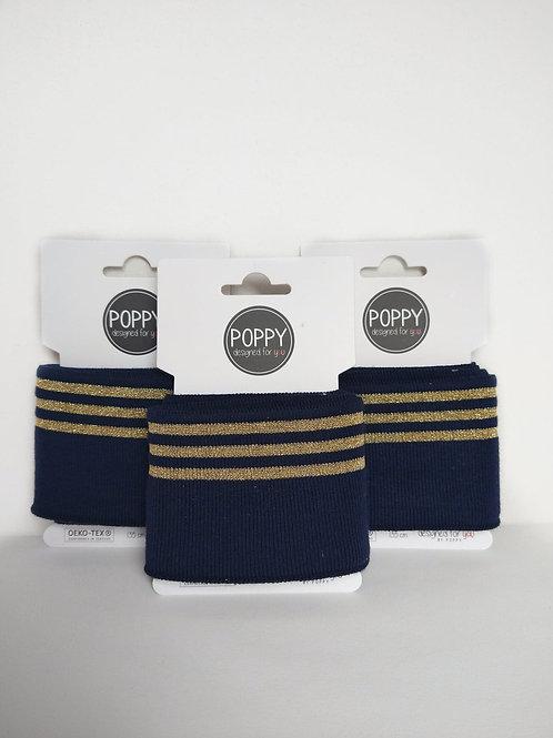 Cuffs boordstof marineblauw-goud