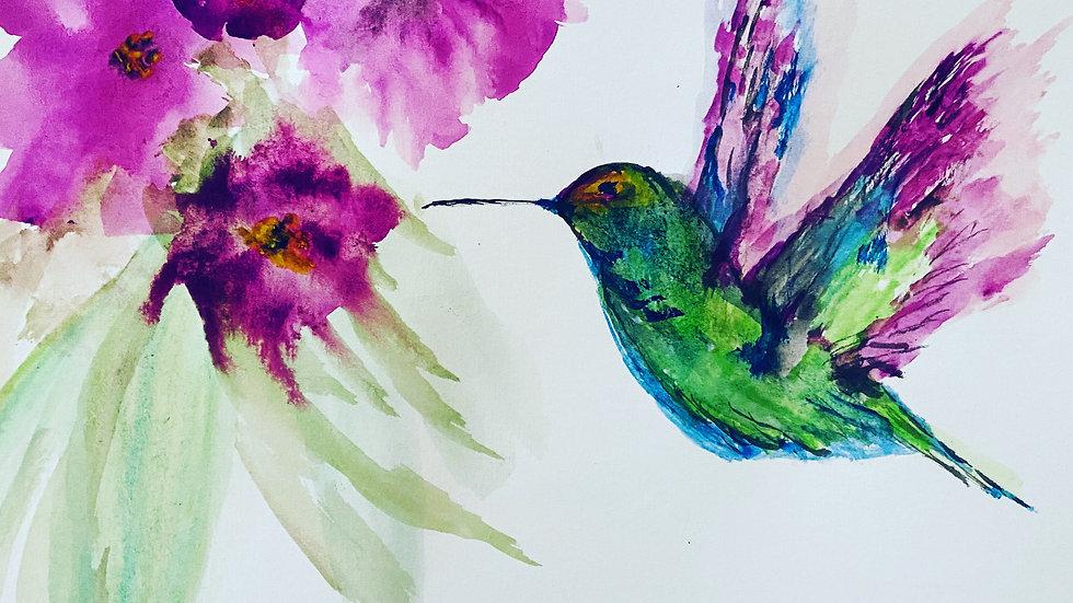 """""""Humming"""" Watercolor Print"""