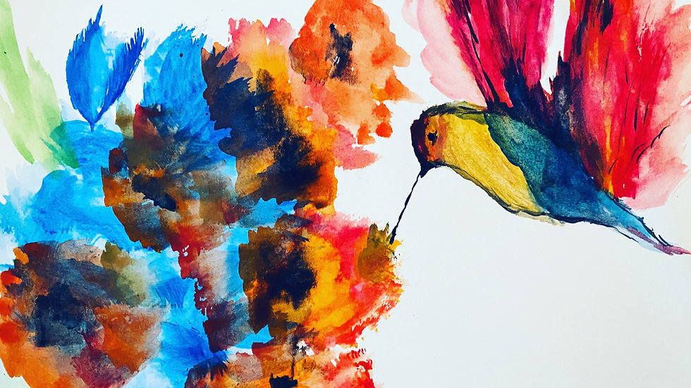 """Poppies Bird"" Watercolor Print"