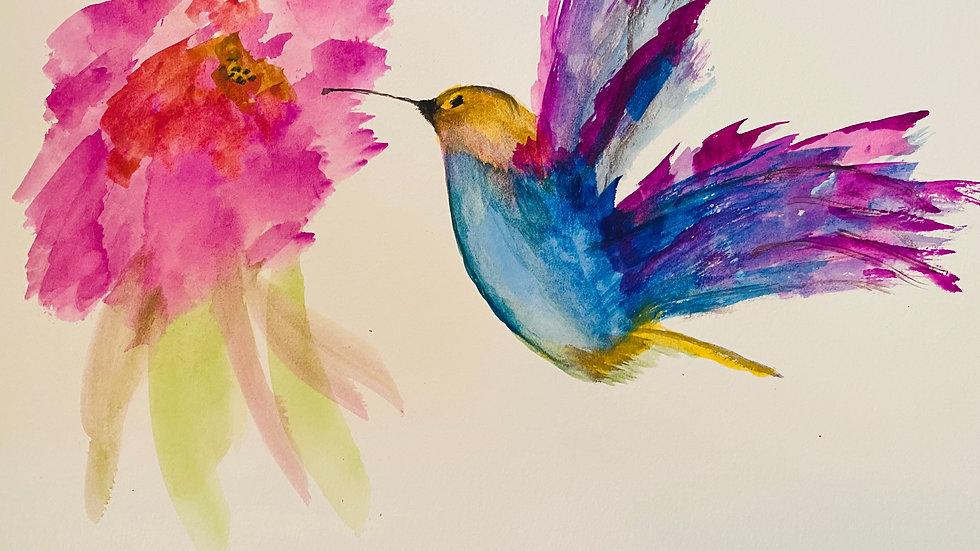 """Humming III"" Watercolor Print"