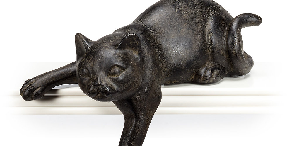 """Small Lounging Cat with/Paw Out-7""""L"""