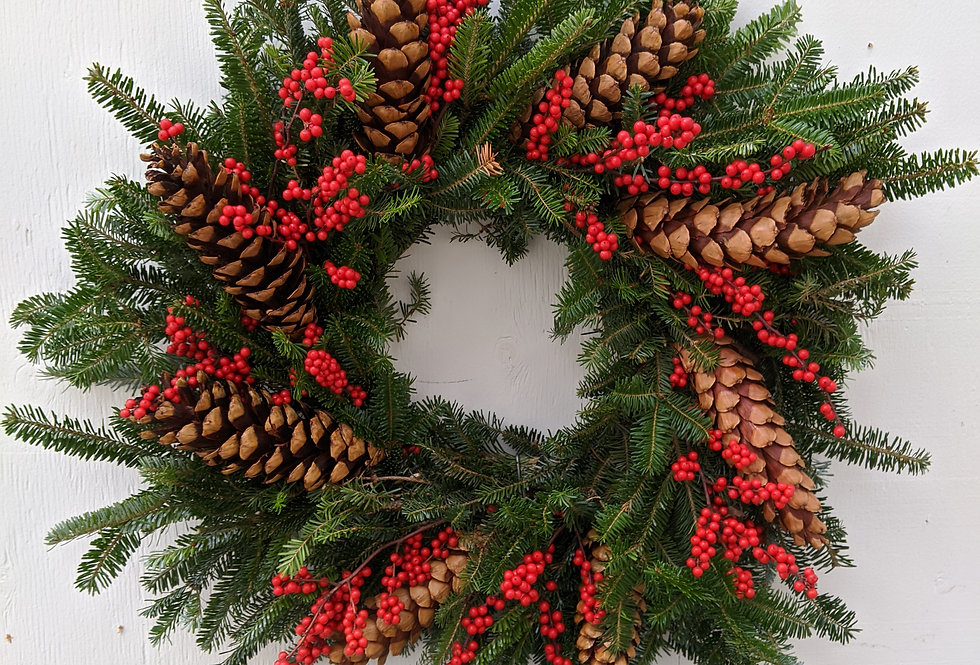 Natural Cone and Berry Wreath