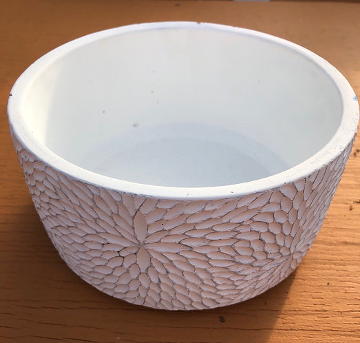 Dahlia patterned shallow planter