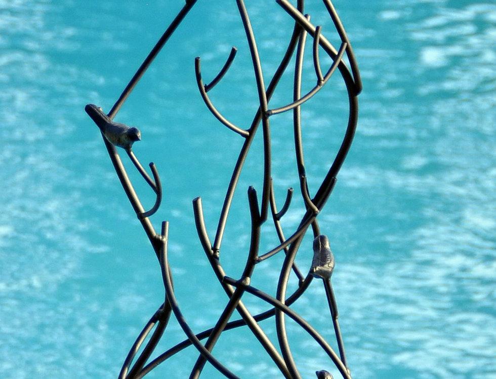 Gazing Ball Bird & Twig Obelisk