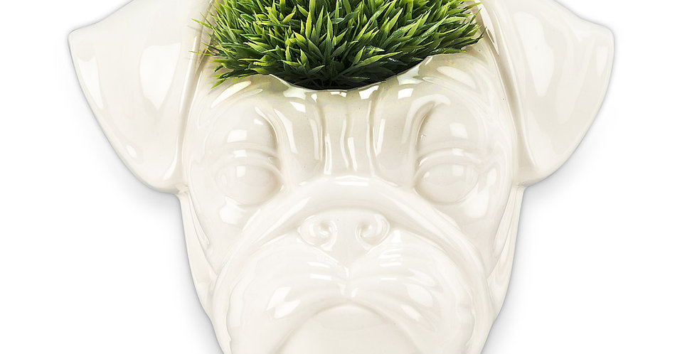 "Pug Head Wall Planter-6""W"