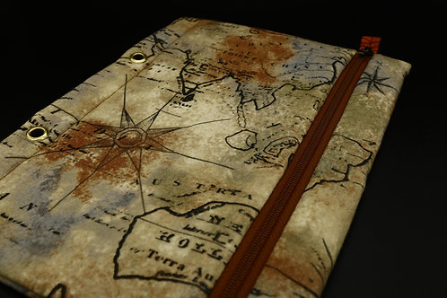 Ordner-Täschchen Weltkarte, beigefarben