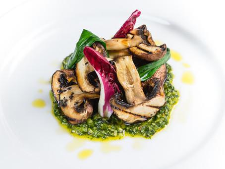 Neil Forbes – Cafe St Honoré  Griddled Portobello Mushrooms with Wild Garlic Pesto
