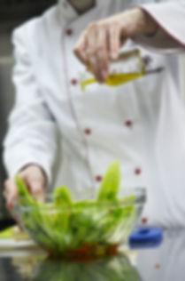 Chef making a fresh salad