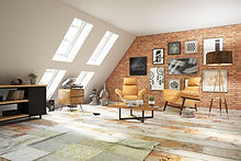 eclectic loft lounge with retro furniture and decor