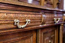 Close-up of vintage sideboard handle