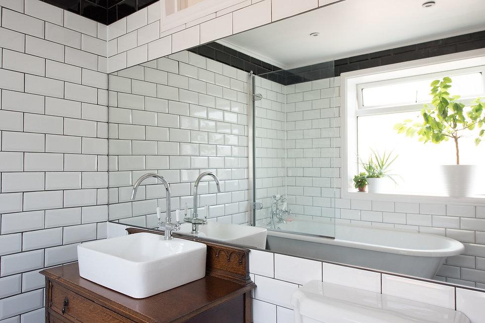 railway metro tiles in bathroom