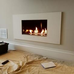 minimalist integrated fireplace