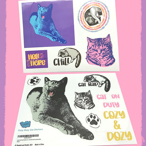 Cozy Dozy Cat Stickers for Laptop
