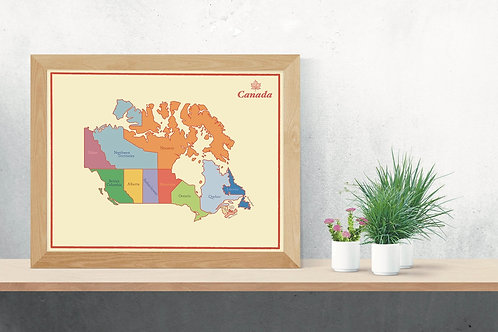 Vintage Canada Map Poster