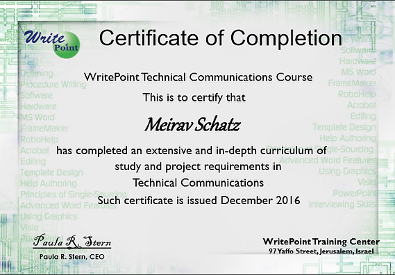 WritePoint Certification of Completion