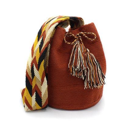 Unicolor Wayuu Bag | Crossbody Bag | Red Brown | Handmade Mochila | Boho |
