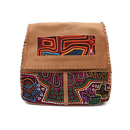 Handcrafted Leather Messenger Bag |  Mola Appliqué | Crossbody Bag