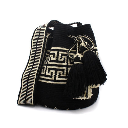 EXCLUSIVE Authentic Woven Colombian Wayuu Bag | Bell Tassel | Loom Strap | Black