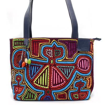 100% Genuine Leather Tote Bag + FULL Mola Appliqué | Leather Bag | Shoulder B