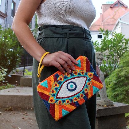 Eye Envelope Clutch with Handle | Wayuu Clutch | Handbag | Women's Bohemian