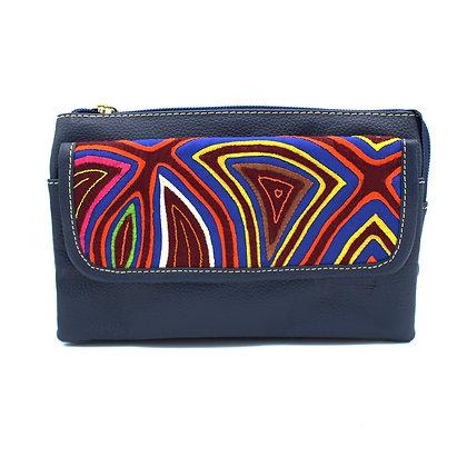 Leather Fanny Pack | Handmade Mola from Kuna | Belt bag | Hip Bag |
