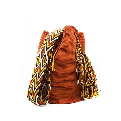 Terra-Cotta Wayuu Crossbody Mochila Bag | Solid Color | Brown Boho Style