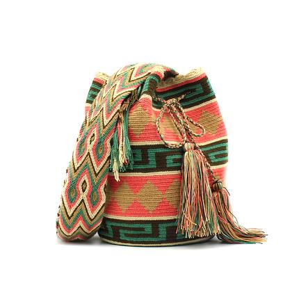 Wayuu Mochila | Boho Bag | Tribal Patterns | Green | Rose | Beige