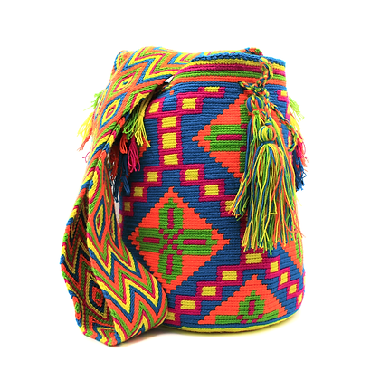 Wayuu Mochila | Blue Orange Green Colorful Patterns | 100% Handmade in Colombia
