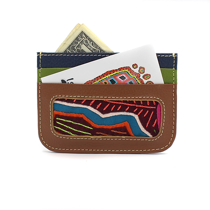 Double Sided Leather Card Holder + Mola Appliqué | Leather Wallet | Card Sleeve