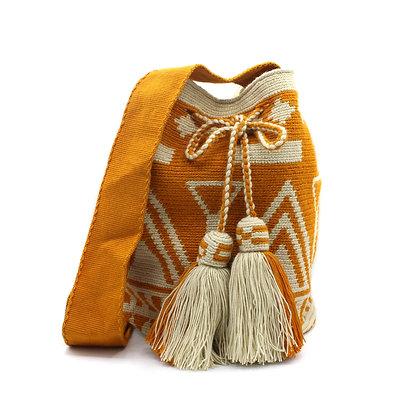 EXCLUSIVE Colombian Wayuu Bag | Bell Tassel | Loom Strap | Mustard Beige